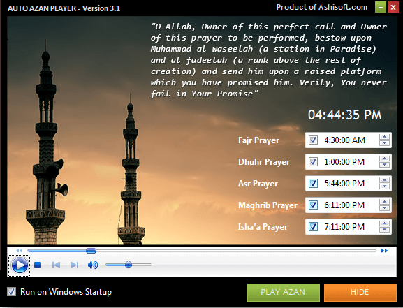 Auto Azan Player - FREE Athan (Azan, Adhan, Salah) Software - Play