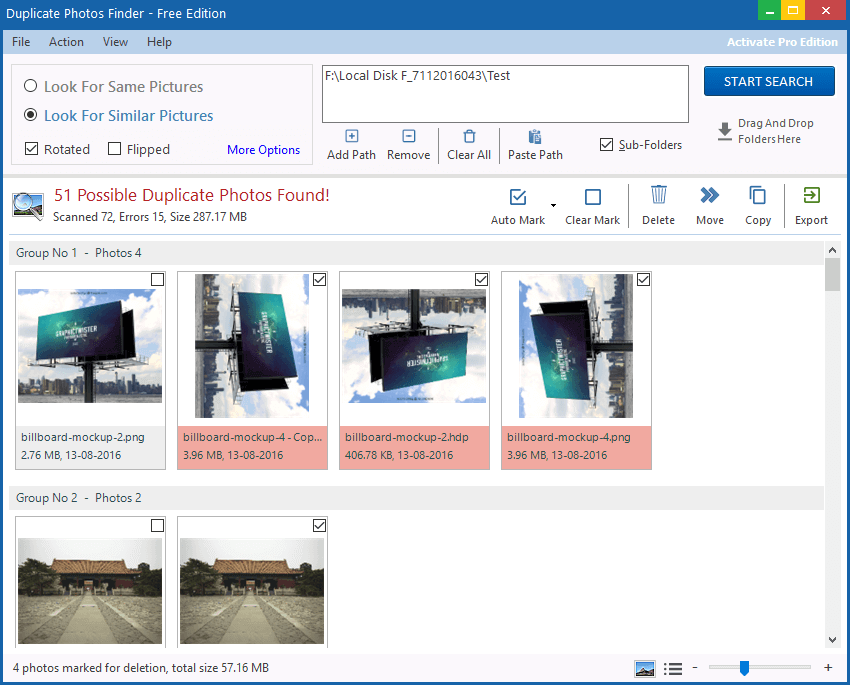Duplicate Photo Finder - Screen Shot